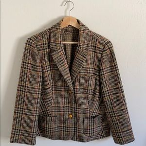 Vintage 100% wool plaid jacket